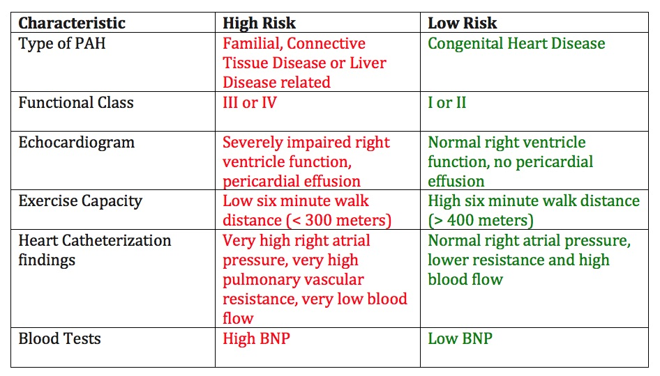 high risk vs. low risk life expectancy in Pulmonary Hypertension